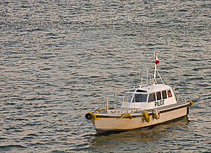 Pilot Boat In Grey Water Royalty Free Stock Image - Image: 8247526
