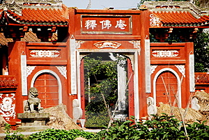 Pengzhou, China: Shi Fo Temple Entry Gate Stock Photography - Image: 8247672