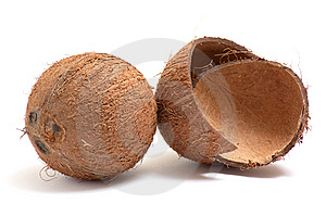 Whole And Broken Coconuts On A White. Royalty Free Stock Photos - Image: 8249528