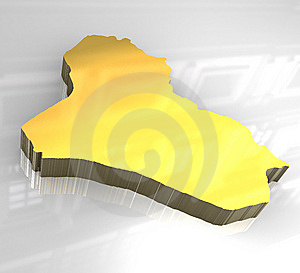 3d Golden Map Of Iraq Stock Photography - Image: 8250922