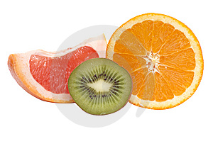 Segments Of Kiwi,orange And Grapefruit. Royalty Free Stock Images - Image: 8254489