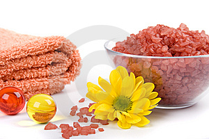 Bath Salt, Towels And Flower Stock Photography - Image: 8255352