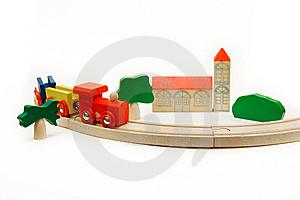 Wooden Railway Over White Stock Photo - Image: 8257440