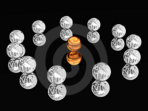 Silver Spheres Laid Out On A Circle. Stock Images - Image: 8258344