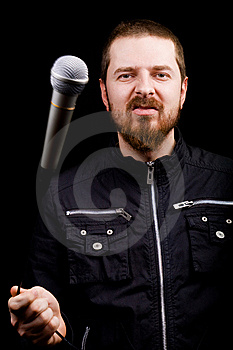Rock Star Musician Playing With Microphone Royalty Free Stock Photography - Image: 8258517