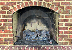 Brick Gas Fireplace Stock Image - Image: 8259131