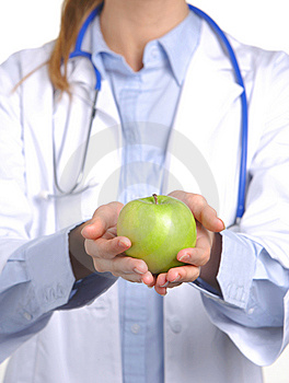 Apple a day keeps the doctor away Stock Photos