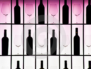 Black Bottles And Crystal Glasses Stock Photos - Image: 8261613
