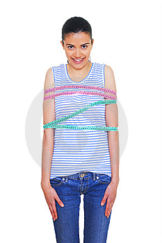 Woman Wrapped In Measuring Tape Stock Image - Image: 8267051