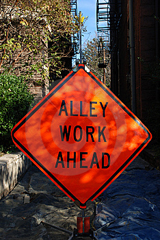 Alley Work Ahead Construction Sign Stock Photo - Image: 8272020