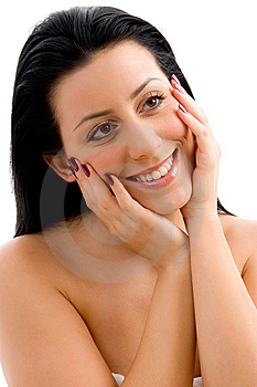 Smiling Woman Scrubbing Her Body Royalty Free Stock Photo - Image: 8275385