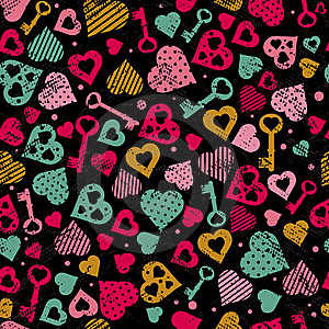Background With Hearts And Keys Royalty Free Stock Photo - Image: 8275705