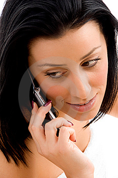 Woman Talking On Cell Phone With White Backgr Stock Images - Image: 8275844