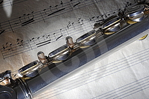 Flute And Old Sheet Music Royalty Free Stock Photography - Image: 8275887