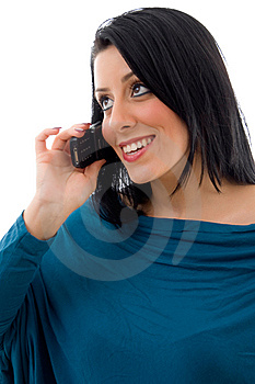 Front View Of Female Talking On Mobile Royalty Free Stock Images - Image: 8276989