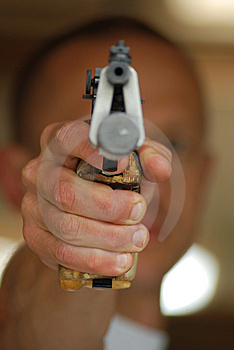 Close Up Of An Aiming  Pistol Royalty Free Stock Image - Image: 8280256