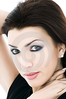 Portrait Of The Brunette With Blue Eye Royalty Free Stock Photography - Image: 8280797