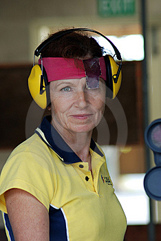 Female Competitor At Shooting Range Stock Images - Image: 8280904