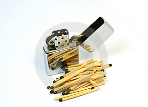 Lighter Zip Vs Matches Royalty Free Stock Photography - Image: 8283577