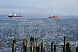Cargo Ships In The Harbor Stock Images - Image: 8293444