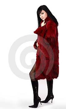 Brunette Is In A Red Fur Coat Stock Image - Image: 8293971
