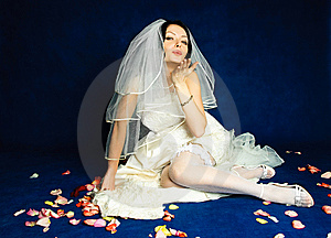 Beautiful Bride Sending An Air Kiss Royalty Free Stock Photography - Image: 8294347