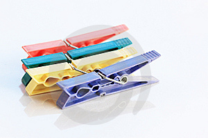 Four Clothespin Stock Image - Image: 8297401