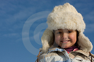 Smilling Girl Winter Portrait In The Fur-cap Stock Photos - Image: 8297543