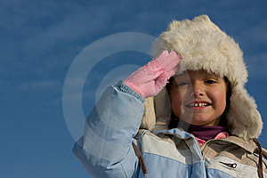 Smilling Girl Winter Portrait In The Fur-cap Royalty Free Stock Image - Image: 8297556