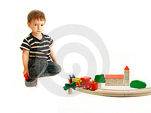 Toddler Playing With Wooden Train Stock Images - Image: 8298014