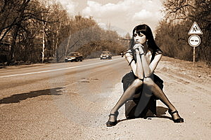 Girl In The Road Stock Photography - Image: 8300352