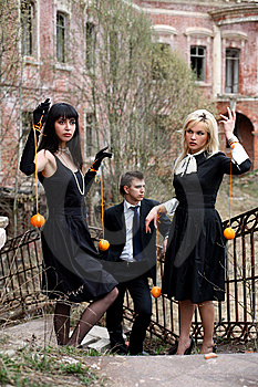 Jealousy - Girls With Oranges And Man Stock Image - Image: 8304521