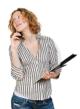Young Businesswoman  With  Folder And Mobile Stock Images - Image: 8304784