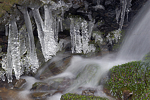 Frozen Creek And Icicles Stock Photos - Image: 8305093
