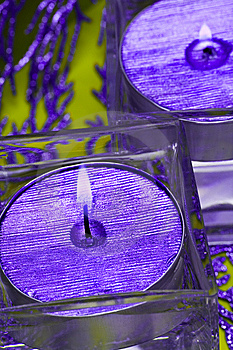 Violet Candles In Glass Royalty Free Stock Images - Image: 8308829