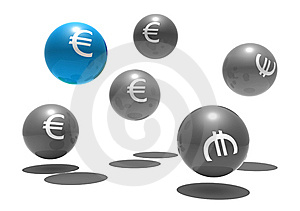 Isolated Spheres With Euro Symbol Royalty Free Stock Photos - Image: 8309138