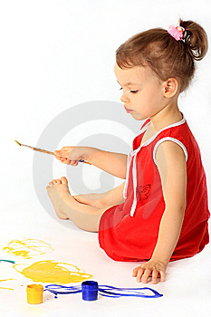A Girl Draws. Royalty Free Stock Photography - Image: 8309727