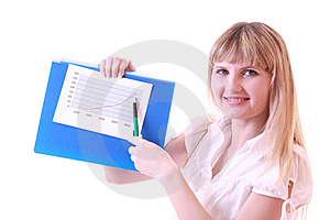 Woman Showing Positive Chart Stock Photo - Image: 8309850