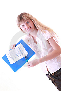 Woman Showing Positive Chart Royalty Free Stock Photos - Image: 8309888
