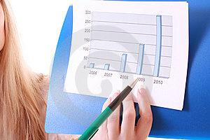 Woman Showing Positive Chart Royalty Free Stock Photo - Image: 8309955