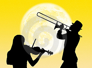 Violin And Trumpet Players In The Moon Stock Image - Image: 8310081