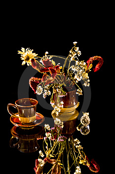 Cup Of Cofee And  Bunch Of Flowers Stock Image - Image: 8310321