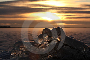 Sunset Over Frozen Lake Stock Photos - Image: 8311943