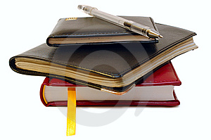 Three Notebooks (organizers) And Jell Pen. Stock Photography - Image: 8313102