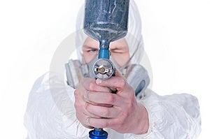 Man With Airbrush Gun, Selective Focus Stock Image - Image: 8316181
