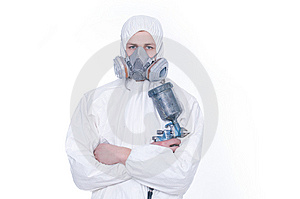 Worker With Airbrush Gun Stock Photos - Image: 8316243
