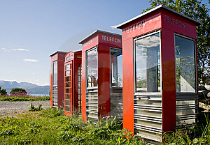 Four Old Telephone Boxes On  Non-urban  Background Stock Images - Image: 8318904