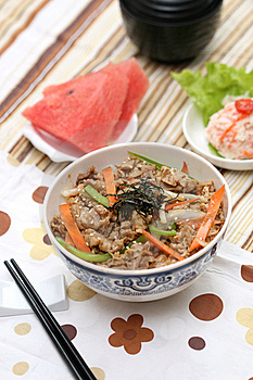 Prepared And Delicious Japanese Food-beef Rice Stock Image - Image: 8322181