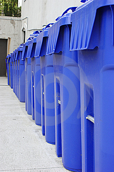 Row Of Big Blue Recycling Bins Stock Photo - Image: 8322780
