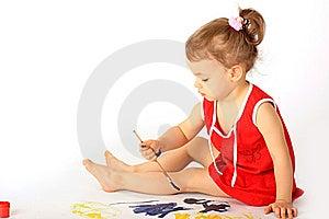 A Girl Draws. Royalty Free Stock Photo - Image: 8323285